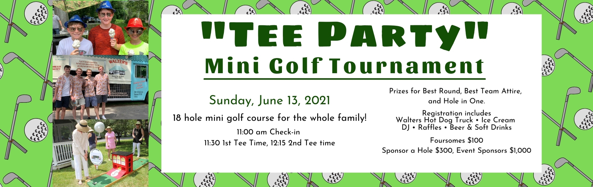 Banner to click on to register for mini golf